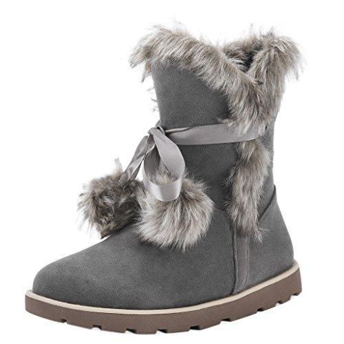 Smanicato Donne Stivali Furry Punta Rotonda Stivali Da Neve Con Tacco Basso Grigio