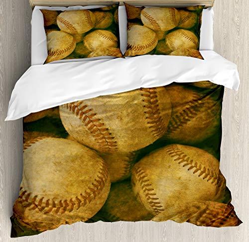 Ambesonne Vintage Duvet Cover Set Queen Size, Vintage Baseball Backgorund American Sports Theme Nostalgic Leather Retro Balls Artwork, Decorative 3 Piece Bedding Set with 2 Pillow Shams, Brown