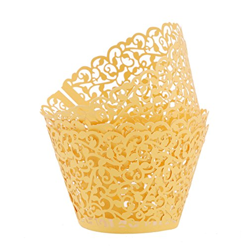 Aiyaya Filigree Artistic Muffin Case Cupcake Paper Cup Liners Little Vine Lace Laser Cupcake Wrappers for Wedding Party Birthday Decoration (gold) (Vintage Cupcake Holder compare prices)