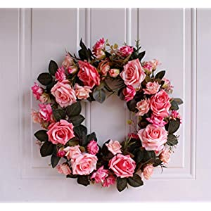 YJBear Pink Artificial Flower Spring Door Wreath Garland Handcrafted Rose Silk Flower Twig Front Door Wreath Display for Home Decoration Wedding Farmhouse Decor Vintage Christmas Wreath,15.7-Inch 1
