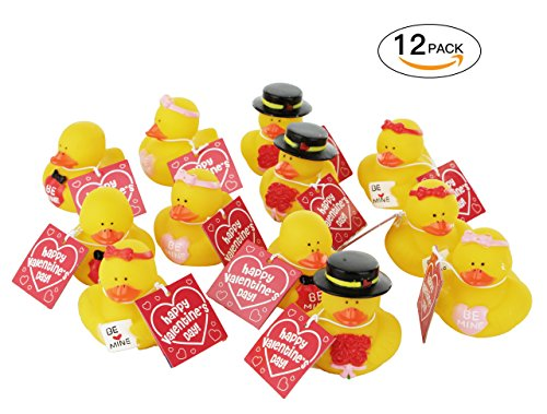 et Yellow Rubber Duckies, Super Cute Fun Novelty Ducks Party Decoration, Asorted Designes, Perfect for Valentine's Day Holiday Decorations, Greeting Tags on Each Duck (12 Pack) (Winter Greetings Bath)