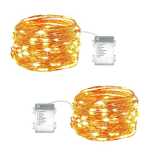 NOVOSTELLA 2 Pack 20ft Starry LED String Lights,60 LED Waterproof Fairy Lights Copper Wire Christmas Decor Lights Battery Operated 8 Modes for DIY Wedding, Party, Table Decorations, Warm White