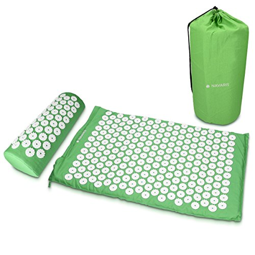 (Navaris Acupressure Mat and Pillow Set - Acupuncture Mat for Back and Neck Pain Relief, Muscle Relaxation, Massage Therapy, Sciatica - Green)
