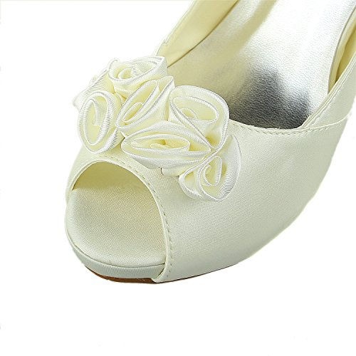 Beige Satin JIA 37028 Platform Blume Satin Peeptoe Stilett Damen JIA Brautschuhe Pumps Absatz Hochzeitsschuhe qOrvxqw