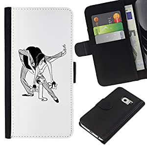 A-type (Danza Hombre Mujer Caricatura del arte divertido) Colorida Impresión Funda Cuero Monedero Caja Bolsa Cubierta Caja Piel Card Slots Para Samsung Galaxy S6 EDGE (NOT S6)