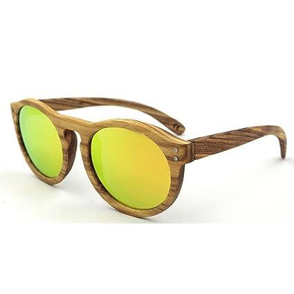 Aihifly Gafas de Sol polarizadas Gafas de Sol de Madera de la Cebra Natural Redonda Retro