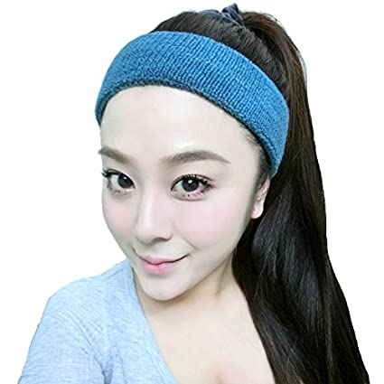 Amazon.com  usongs Thick elastic sports scarf sweat wash hair band ... f9b7ec0d617