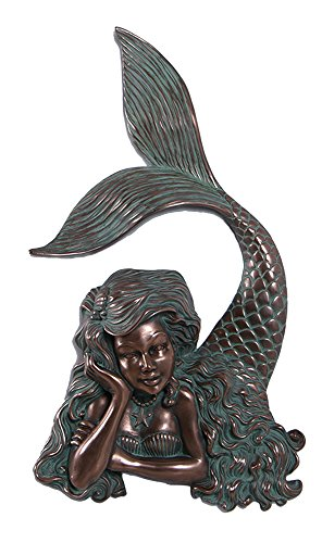 (Nautical Tropical Imports 25 Inch Verde Bronze Finish Arie Mermaid Wall Mount Figure Over 2 feet!)