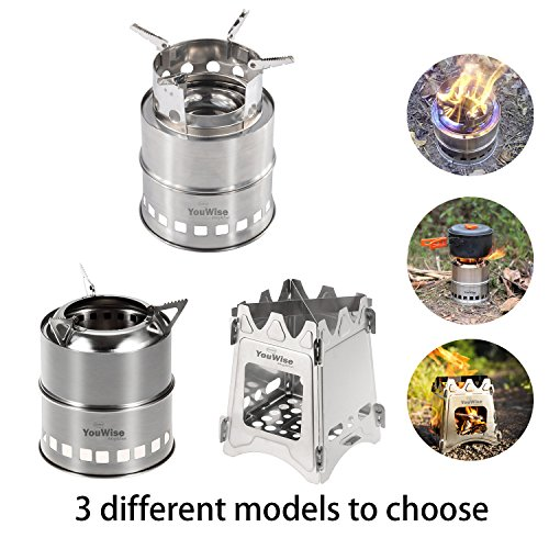 Wood Burning Collapsible Stove-YouWise Stainless Steel Mini Portable Lightweight Stove with Mesh Carry Bag -Perfect for Outdoor Cooking,Picnic Camping,Survival,Multi Models to Choose (Stove Mesh)