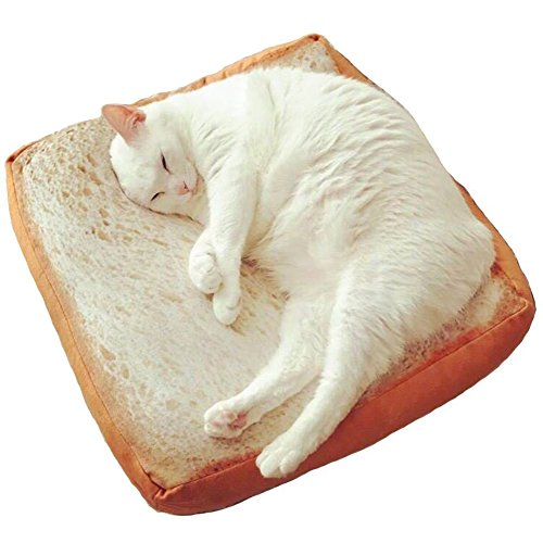 Dofover Soft Cat Cushion Bed Bread Pet Mattress Bed Toast Mats Bedding Pad for Small Medium Dogs & Cats,Sleeping Resting Playing Reading Pillow (15.7''x15.7''x2.6'')