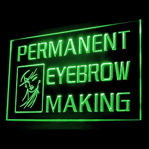 Permanent Eyebrow Making Shadow Lining Flattering Salon LED Light Sign 160065 Color Green