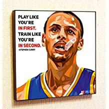 Stephen Curry NBA Backetball Motivational Quotes Wall Decals Pop Art Gifts Portrait Framed Famous Paintings on Acrylic Canvas Poster Prints Artwork Geek Decor Wood
