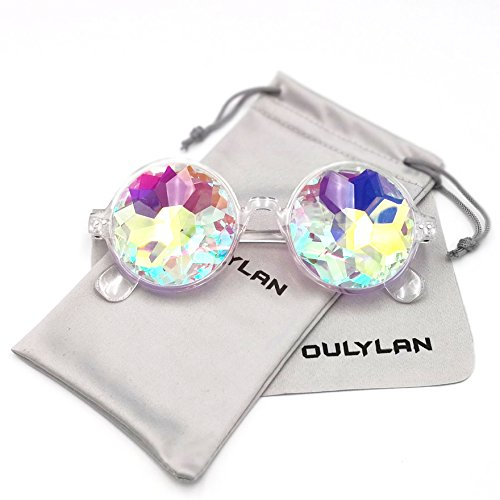 (Round Kaleidoscope Glasses Rainbow Prism Sunglasses for Women Men OULYLAN Party Rave Festival Glasses with Grey Sun Glasses Cloth Bag (Clear))