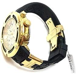 Aqua Master El Russo Chrono 100% Real Diamond Men's Watch Yellow Gold-tone Dial Black Rubber Band