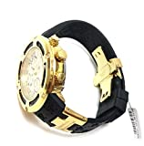 Aqua Master El Russo Chrono 100% Real Diamond Men's Watch Yellow Gold-tone Dial Black Rubber Band