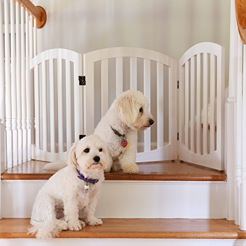 - Arf Pets Free Standing Wood Dog Gate, Step Over Pet Fence, Foldable, Adjustable - White