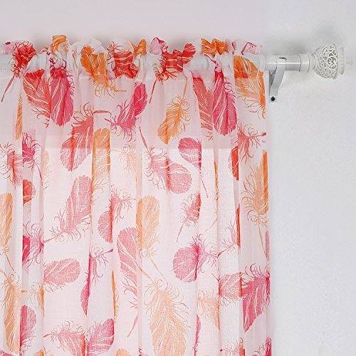 Deconovo Decorative Feather Print Pattern Faux Linen Rod Pocket Sheer Curtains for Living Room 42 x 63 Inch Yellow and Rose Two Panels - Two Yellow Roses