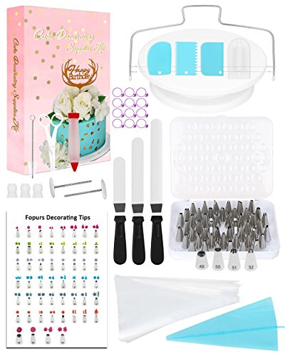 (Fopurs 134pcs Cake Decorating Supplies Kit, 52 Numbered Stainless Steel Icing Tips with Storage Box, 50 Ultra-thick Icing Bags, 12 Icing Bag Ties, Decorating Tip Poster and More)