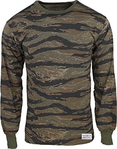 Army Universe Tiger Stripe Camouflage Long Sleeve Military T-Shirt with Pin - Size 2X-Large (Tiger Stripe Camo T-shirt)