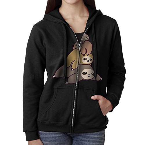 Sloth Stack Womens Full Zip-Up Sweatshirt Sport Outwear With Pockets by TT&Hoodie