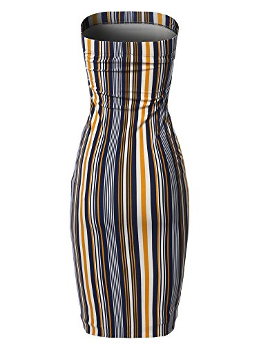 Navy Midi Sexy Body in Con Made Tube Emma Fewdrv0034 Women's by Mustard Top Dress qcw4gH7