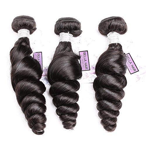 "Bella Hair Mixed Length 22"",24"",26"" 100% Raw Virgin Brazilian Human Hair Loose Wave Hair Extensions 3 Bundles Natural Black Color"