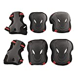 Evaric Skateboard Roller Blading Elbow Knee Wrist Protective Safety Gear Pad Guard 6pcs Black with RedS