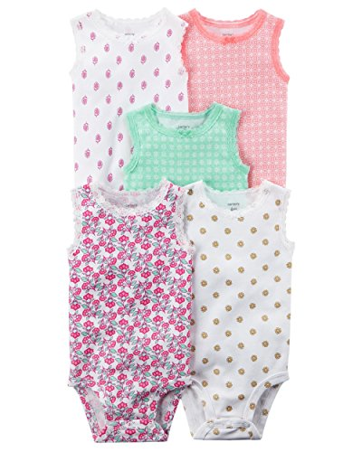 Carter's Baby Girls' 5 Pack Floral Bodysuits 3 - Floral Onesie Bodysuit