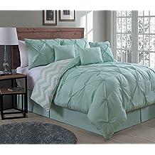 Geneva Home Fashion 7-Piece Ella Pinch Pleat Comforter Set, Queen, Mint