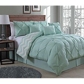 Avondale Manor 7-Piece Ella Pinch Pleat Comforter Set, Queen, Mint