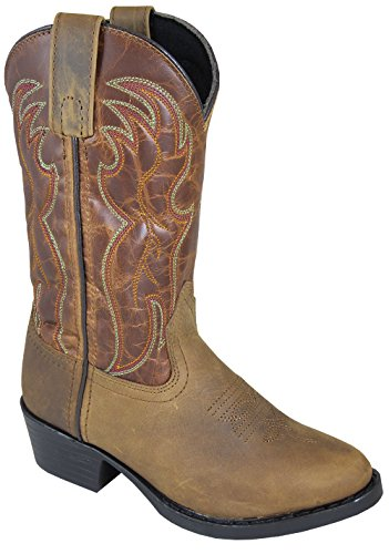 Smoky Mountain Childrens Tonto Distressed Leather Shaft Round Toe Brown/Brown Western Cowboy Boot (Distressed Kids Leather)