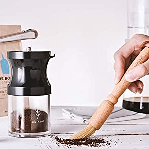 Soulhand Coffee Grinder Espresso Machine Cleaning Brush Natural Boar Bristles Wooden Handle + Coffee Measuring Scoop with Bag Clip (Stainless Steel/Copper) 1tbsp / 15ml Coffee Tool Set