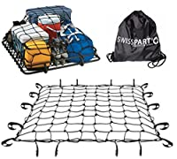 """Black Rooftop Cargo Net Set 47"""" x 36"""" Stretches to 70"""" x 52"""" With 18 Adjustable Hooks For Car Roof Rack Basket Truck Bed Rear Netting"""