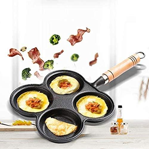 SHYOD Pan-Fer en Fonte - Noir Quatre-Trous Design Feuille Plat épais de poêle à Frire épaisseur Non Coquine