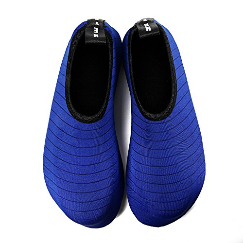 IceUnicorn Water Shoes Mens Womens Outdoor Swim Barefoot Socks Skin Shoes for Beach Running Snorkeling Surfing Diving Yoga Exercise Striped Blue pLlsfBo