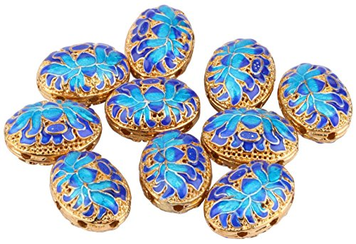 Sdootjewelry 10 Pcs 15mm Oval Spacer Beads Classical Style Egg Shaped Charm Bead with Blue Flower Pattern Copper Beads for Jewelry Makings - Oval Spacer
