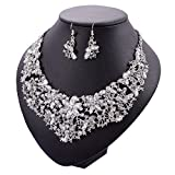 Yuhuan Women Alloy and Crystal Butterfly Necklace and Earring Set Color (Silver)