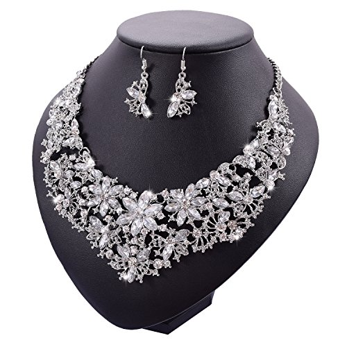 Yuhuan Women Alloy and Crystal Butterfly Necklace and Earring Set Color - Rhinestones Jewelry Earrings Butterfly