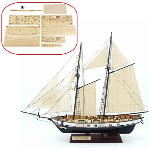 HAPYLY 1/130 Scale DIY Hobby Wooden Ship Science Equipmen Assembly Model Boat Kits Sailing Boat Kit Decor Toy - Build To Wooden Model Boats Kits