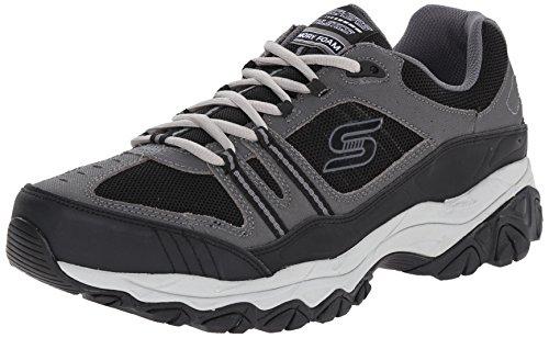 Skechers Sport Men's Afterburn Strike Memory Foam Lace-Up Sneaker,Charcoal/Black,8.5 4E US