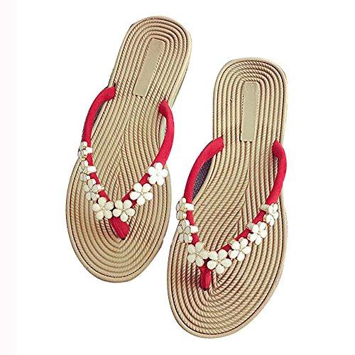 Fiore Pantofole Sandali Moda da Estate Clip Scarpe Casual WSNH888 Infradito Indossare Punta rosso e Piatta Spiaggia Cwt6qI