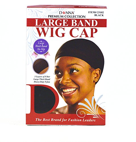 (Donna Premium Collection Large Band Wig Cap Black 100 pieces 23102)