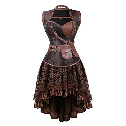 frawirshau Women's Steampunk Costume Corset Dress Halloween Costumes Steam Punk Gothic Overbust Corset and Skirt Set Brown 4XL ()