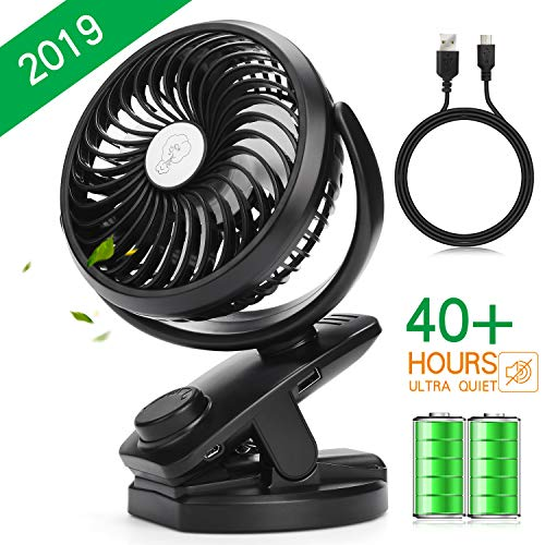 (Esup Clip on Fan, USB Mini Desk Fan, Portable 40 Hours with Rechargeable 4400mAH BatteryPersonal Table Fan, Quiet Operation 360°up and Down for Baby Stroller, Outdoor Activities【2019 Upgrade Version】)