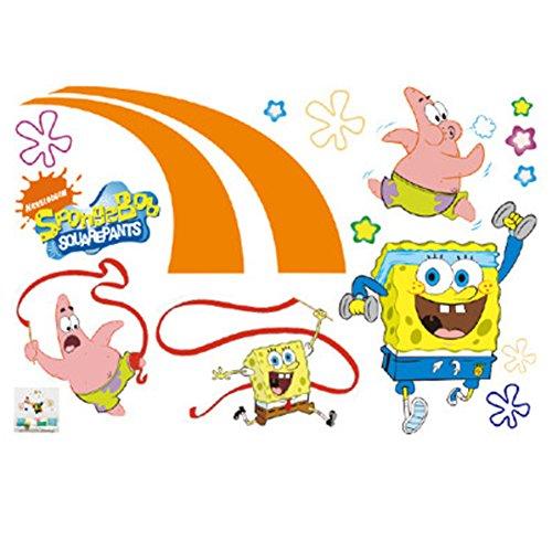 Fangeplus(R DIY Removable Spongebob Squarepants Cute Cartoon Anime Art Mural Vinyl Waterproof Wall Stickers Kids Room Decor Nursery Decal Sticker Wallpaper23.6''x35.4''