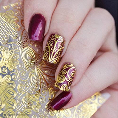 YABINA 8 Sheet/set 3D Foils Nail Vinyls Nail Stencil Sticker Sheets Set for Nail Art Design (Gold)