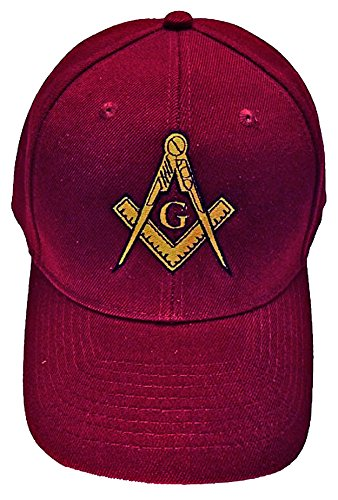 Mason Hat Maroon Embroidered Masonic Lodge Baseball Cap