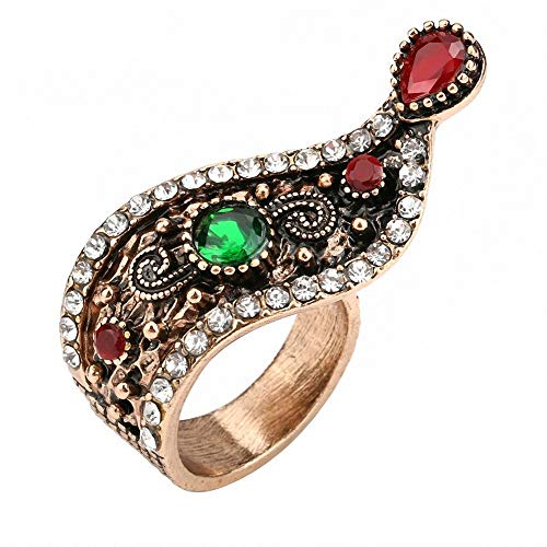 Turkish Jewelry Women Antique Gold Color Unique Style Crystal Vintage Ring Wholesale (8)