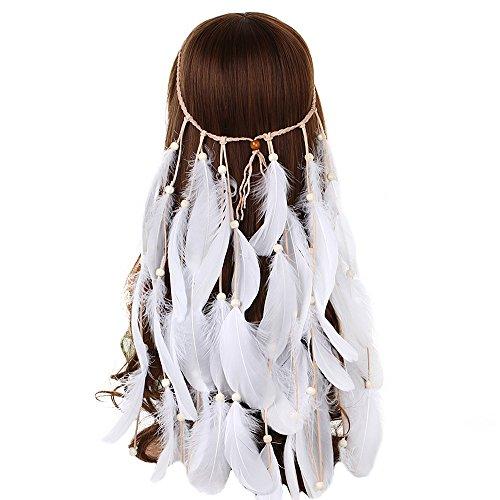 (Feather Headband Women Festival Headwear -AWAYTR Bohomia Feather Rope Crown Headdres For girls)
