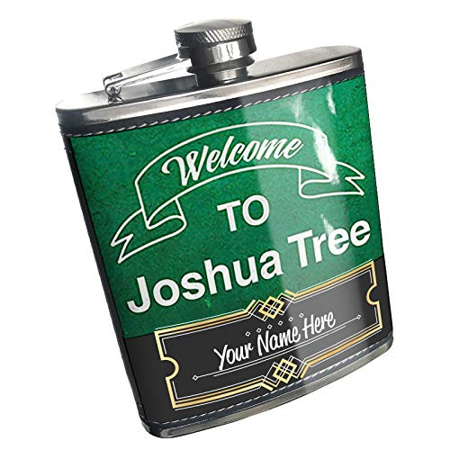 Neonblond Flask Green Sign Welcome To Joshua Tree Custom Name Stainless Steel